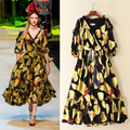 High Quality 2016 Autumn And Winter Fashion Runway Show New Popular Printing V Lace Collar Half Sleeve Women Dress Free Shipping