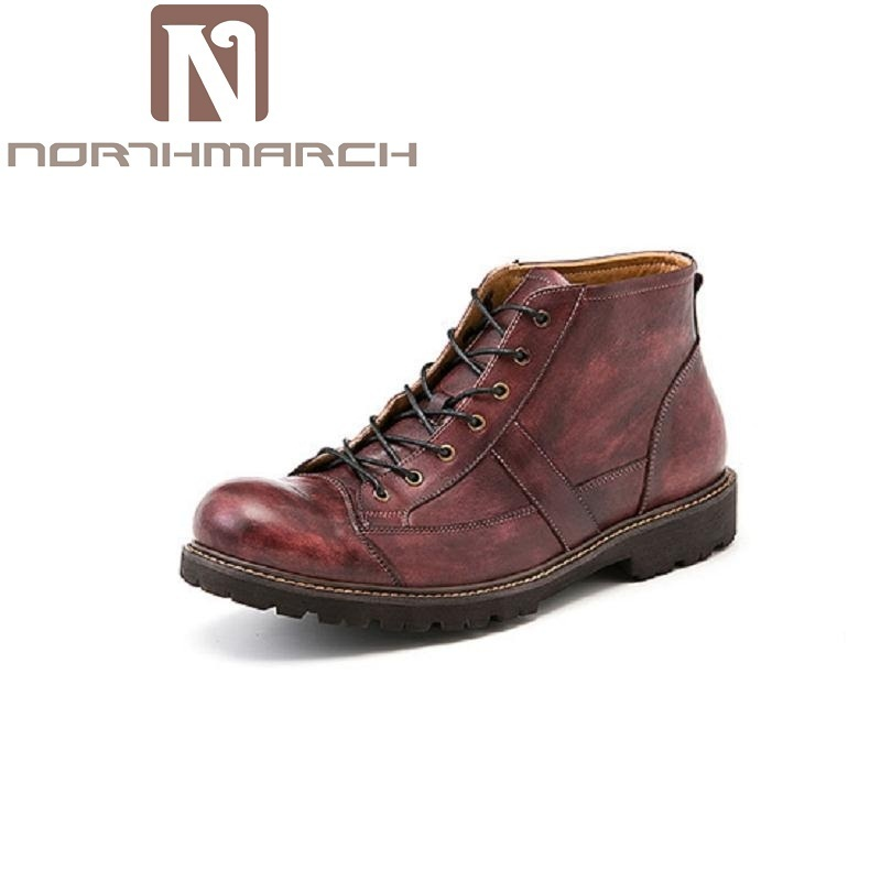 NORTHMARCH Men Shoes British Retro Cowhide Leather Ankle Boots Autumn And Winter Mens Martin Boots Male Wine Red botas cuero z suo men s shoes the new spring and autumn ankle leather casual shoes fashion retro rubber sole lace mens shoes zsgty16066