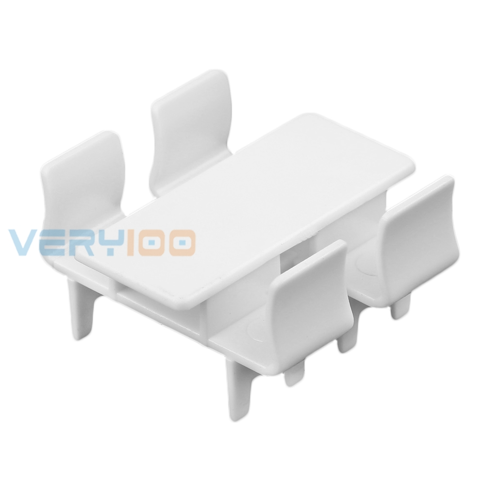 U.TECH 10Sets White Rectangle Dining Table Chair Settee Railway Model 1:100 Scale Free Shipping