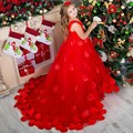 2017 New Red Flower Girl Dresses Ball Gown Long Sleeves Lace Back Button Solid O-neck Flower Girl Dresses Vestido De Daminha