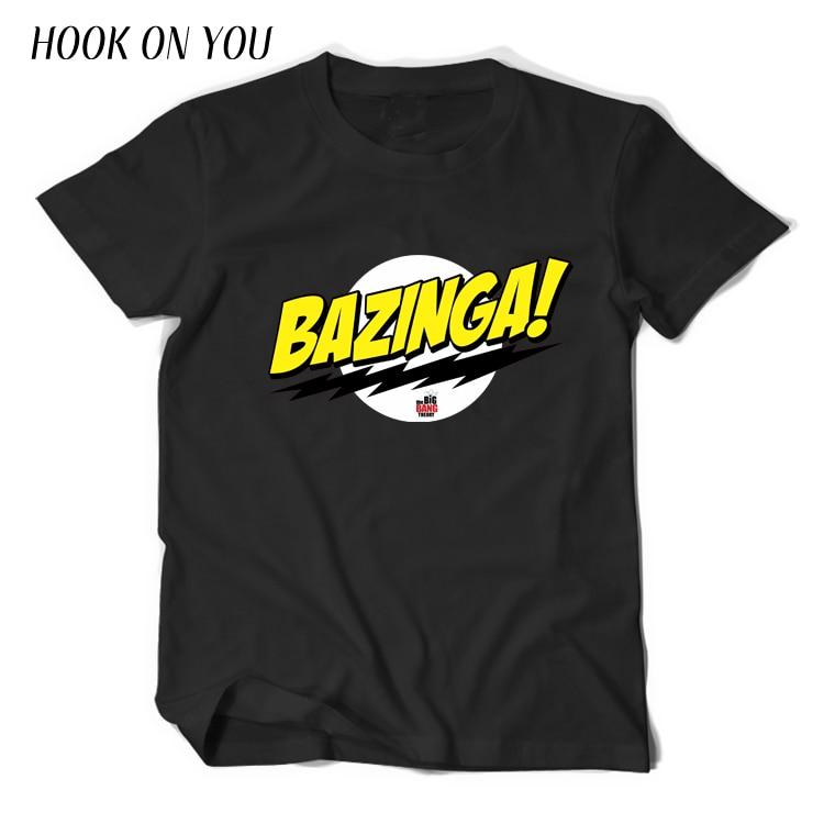 The Big Bang Theory Sheldon Cooper Bazinga T Shirt Men Cotton T-Shirt Einstein mass energy equation E=MC Tshirt Homme Top Tees
