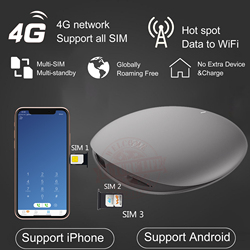 4G Net free roaming IKOS 3SIM Standby SIMadd Wireless Connection WiFi Router for Android for iPhone 6/7/8/X iOS 7-13