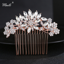Miallo  Rose Gold Color Hair Comb Austrian Crystal Blossom Bridal Headpiece Wedding Jewelry Hair Accessories for Hairstyle