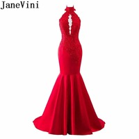 JaneVini 2019 Mermaid Burgundy Bridesmaid Dresses Long African Sexy Halter High Neck Beaded Lace Prom Dresses Formal Party Gowns