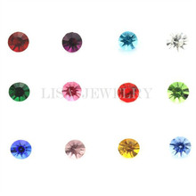 120pcs/lot Free Shipping 12 Colors 4mm Round Crystal Birthstone Floating Locket Charms For Glass Memory Locket