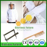 Best Quality Beekeeper Set Cotton Beekeeper Jacket+ Sheepskin Beekeeper Gloves+Stainless Steel Frame Grip+Bee Brush