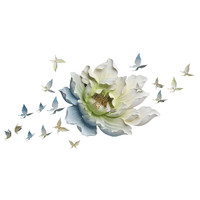 Creative Resin Flower+Butterfly Wall Decoration 3D Art Wall Hanging Background Mural Wall Sticker Home Decoration R723