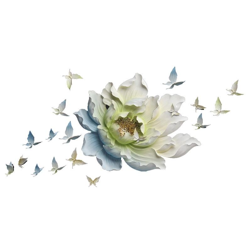 Creative résine fleur + papillon décoration murale 3D Art tenture murale fond Mural autocollant décoration de la maison R723