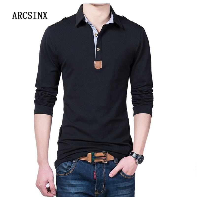 ARCSINX Black Polo Shirt Men Large Size 5XL Turn-down Collar Polo Men Long Sleeve Cotton Mens Polo Shirts Fashion Men Polo Shirt