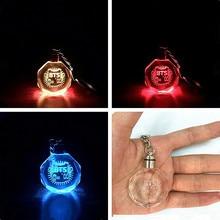 2017 Fashion BTS Bangtan Boys Style Colourful LED Light Rhinestone Pendant Keychain Key Chain Key Ring Gift
