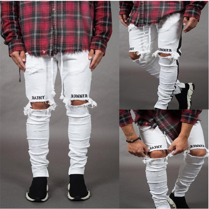 New 2019 Fashion Pants Men Skinny Jeans Men Streetwear Ripped Jeans For Man Fitted Bottoms Zipper Hip Hop Jeans Homme Denim