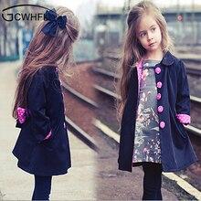 2018 Kids 2-14 Year Wind Coats Children Outerwear Fashion Girl Coat Fashion Bowknot Long Sleeve Spring Autumn Jacket for Girls