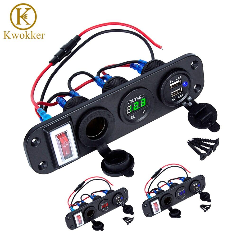 4 in 1 Neue Digital Voltmeter + 12 v Steckdose + Dual USB Power Ladegerät Adapter Zigarette Leichter Buchse mit Rocker Schalter