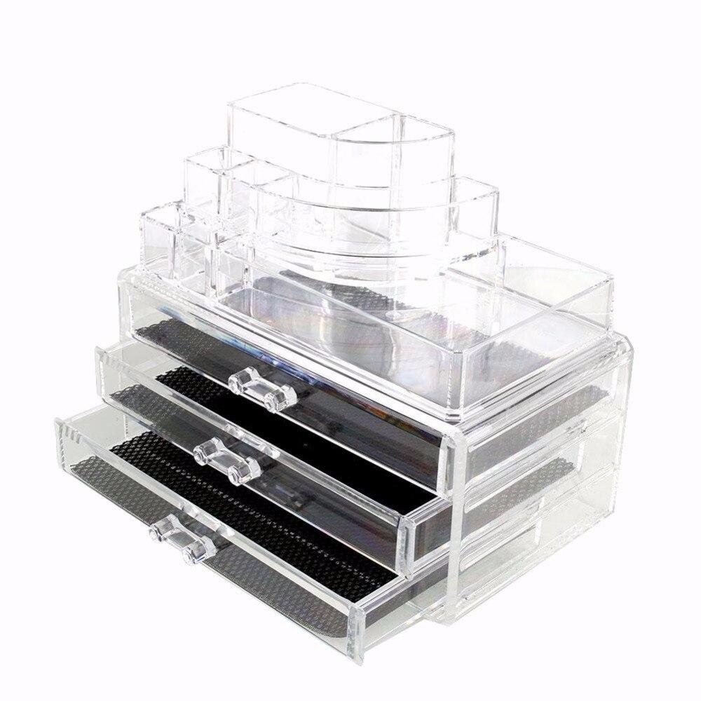 ФОТО  Cosmetic Storage Display Box Multifunction Acrylic Cosmetic 4 Drawers Display Drawer Case Storage Organizer Size:237*140*180mm