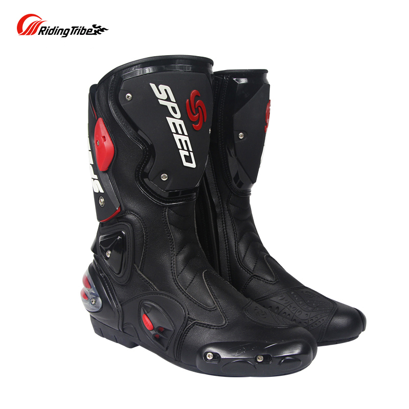 Riding Tribe Microfiber Leather Motorcycle Boots Pro Biker SPEED Drop Resistance Racing Moto Motorbike Motocross Boots riding tribe motorcycle waterproof boots pu leather rain botas racing professional speed racing botte motorcross motorbike boots