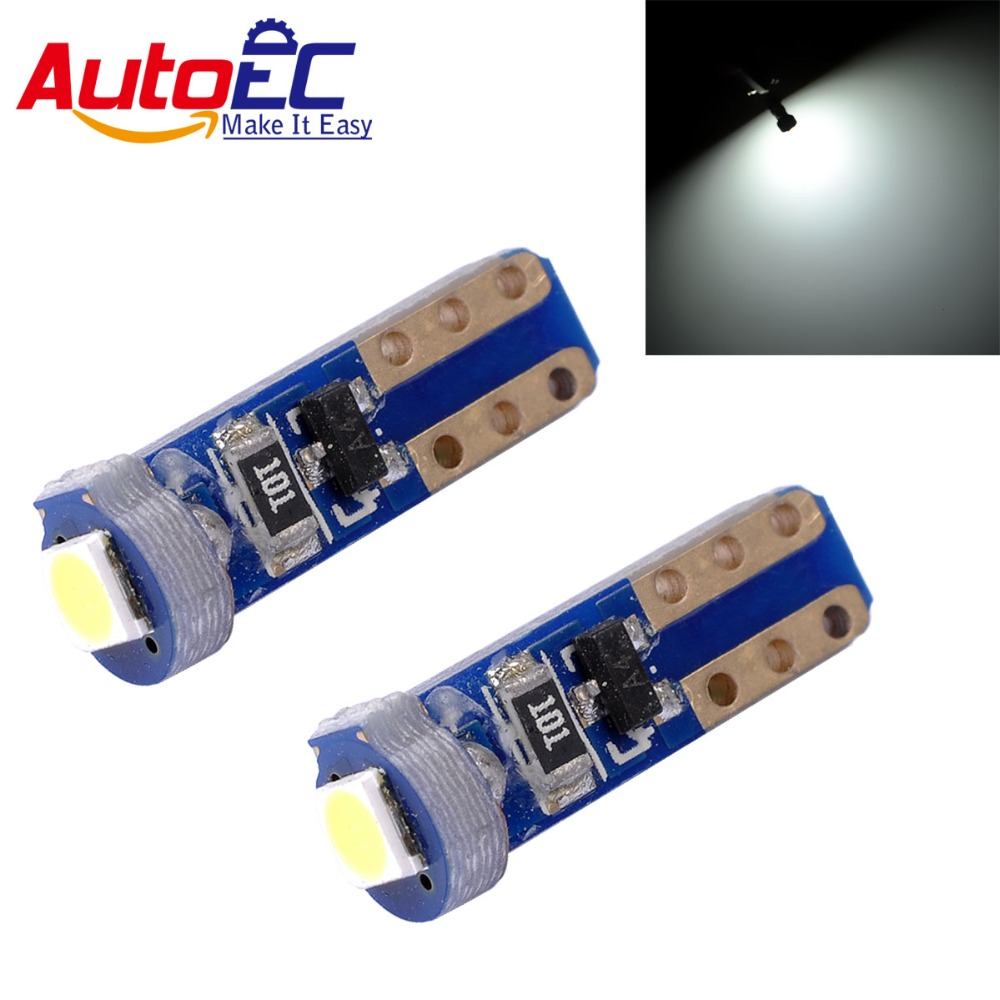 AutoEC 4x Universal Led T5 W3W 3030 SMD 37 73 74 Wedge Instrument Panel Speedometer Tacho Gauge Cluster Lamp Dash LED Bulb #LA16