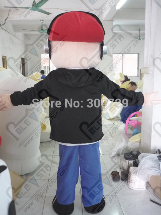 export high quality red hat boy mascot costume black coat earphone <b>Musicians</b> costumes - China Cheap Products
