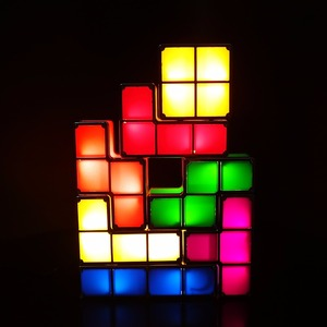 Image 4 - DIY Tetris Puzzle Light Stackable LED Desk Lamp Constructible Block Night Light Retro Game Tower Baby Colorful Brick Toy