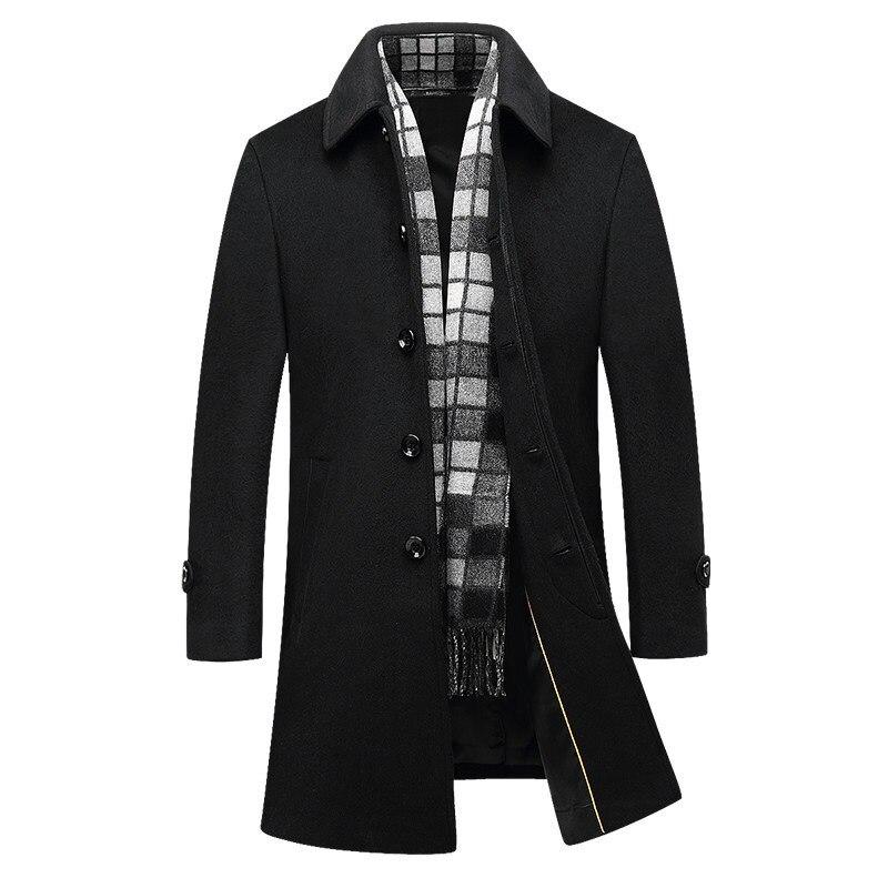 Long Wool Coat Men 2017 Brand Fashion Mens Cashmere Coat