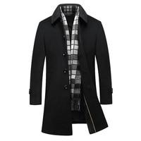Long Wool Coat Men 2017 Brand Fashion Mens Cashmere Coat Single Breasted Manteau Homme Casual Slim Fit Overcoat Pea Coat Black