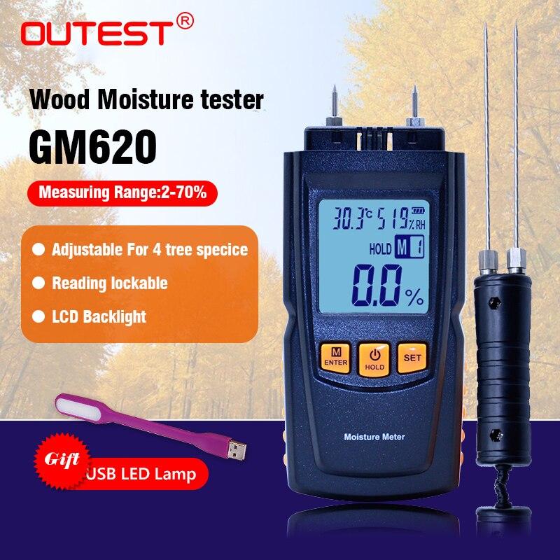 Новый GM620 цифровой ЖК-дисплей Дисплей Дерево Измеритель влажности 2 ~ 70% влажность тестер Лесоматериалы Damp детектор портативный измеритель в...