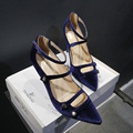 4 Color Plus Size Women's Flock Sexy High Heel Pointed Toe Strapy Hollow-out Elegant Ladies Evening Pumps Heels Shoes Heeled Hot
