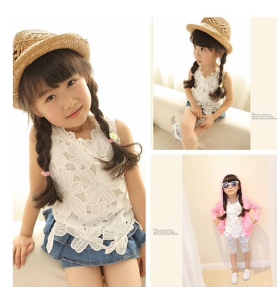 2016 summer new style Baby Kids Girls Summer Lace vest toddler girls white floral shirt 2-7 years kids clothes - Anniey Store store