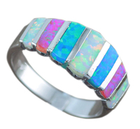 Hot Sale Blue White Pink Fire Opal For Women Fashion Prong Setting Blue Opal Rings Size