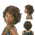 Free Hair Cap 2015 Cute chic pixie cut Synthetic wigs Short Curly African american wigs with bangs for black women