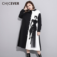 CHICEVER Spring Patchwork Women Dress Long Sleeve Loose Big Size Hit Colors High Waist Dresses Female