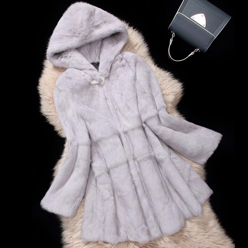 Real Rabbit Fur Coat With Big Hat Women Full Pelt Rabbit Fur Jacket Skirt Hem Diamond Buckle Customized  Plus Size F1073
