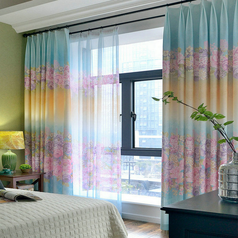 One Bedroom Living Room: Floral Printed Curtains Romantic Style Cotton Linen Drapes