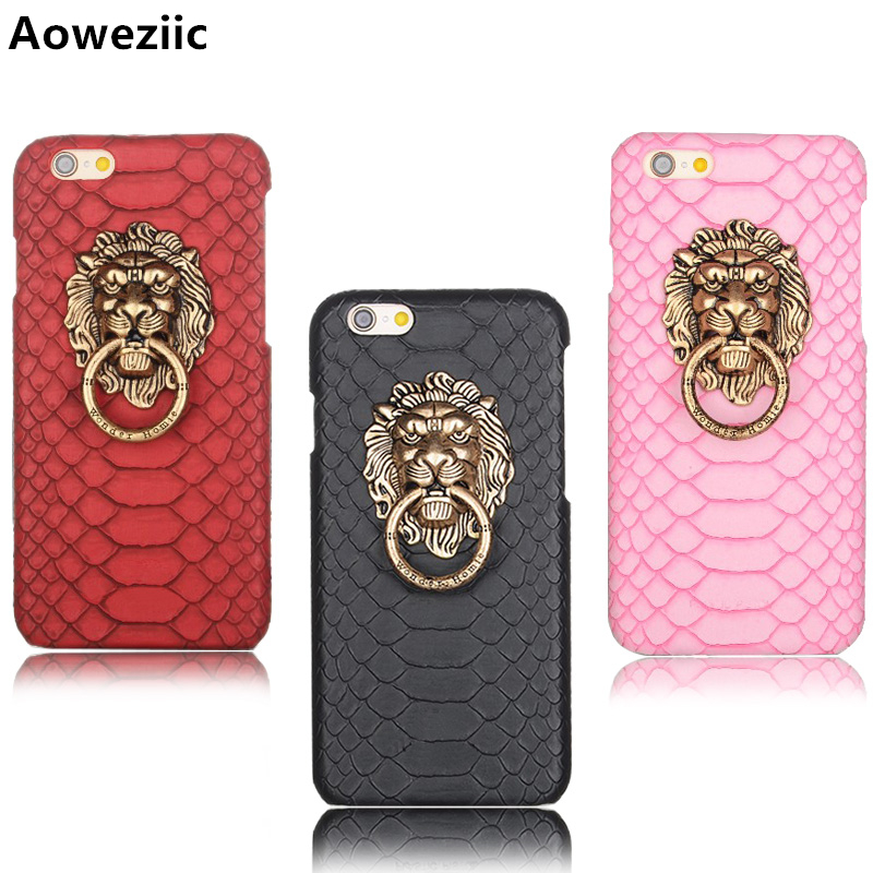 Aoweziic 2018 New hot Lion head shop For iPhone 6Plus phone case 6s 7plus 8Plus X punk ring buckle protection suit tide