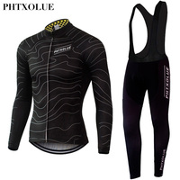 Phtxolue Summer Autumn Men S Long Sleeve Cycling Jersey Sets Breathable 3D Padded Bicycle Sportswear Cycling