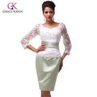 Free Shipping 2014 Sexy Grace Karin 3 4 Sleeve Lace Backless Ball Evening Prom Party Dress