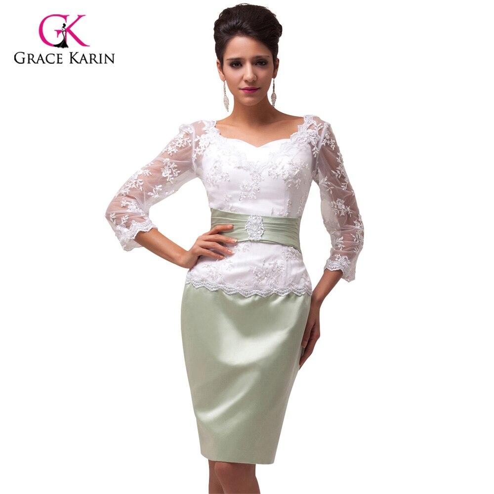 e44214b1128 Detalle Comentarios Preguntas sobre Corto Encaje Vestidos de noche 2018  Grace Karin mangas de tres cuartos vestido formal cena de la novia Vestidos  para la ...