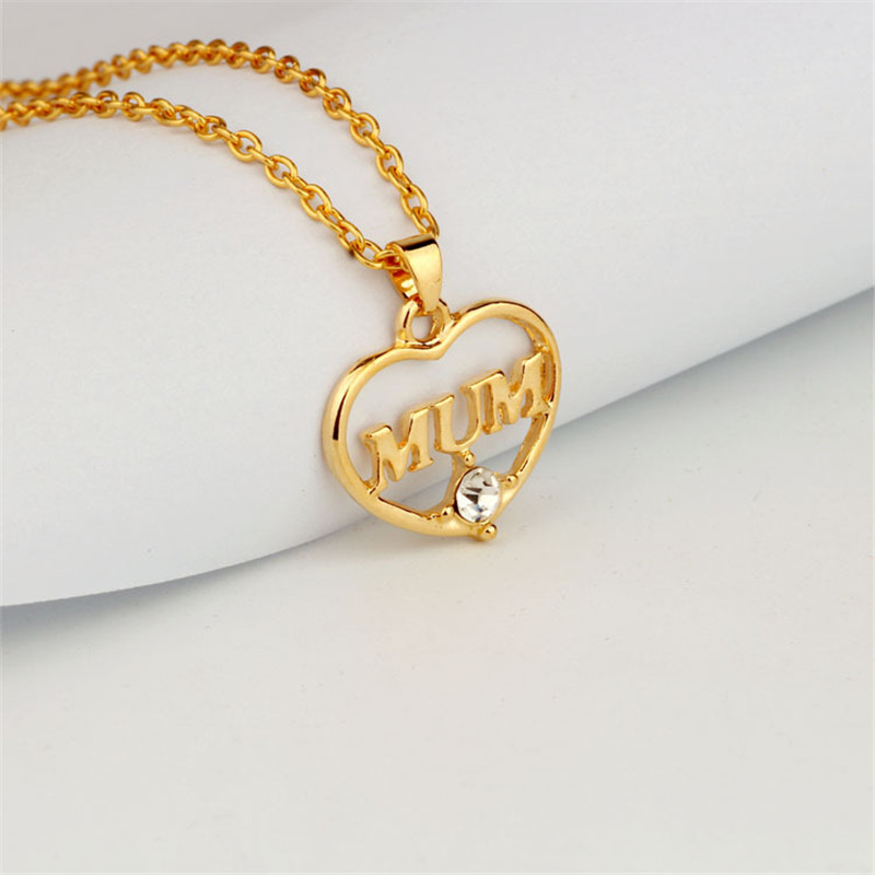"ZN 2019 Gold Color Love ""Mum"" Crystal Heart Pendant Necklace Mother's Day Gifts for mother Sweater Chain Necklaces Best Gifts 34"