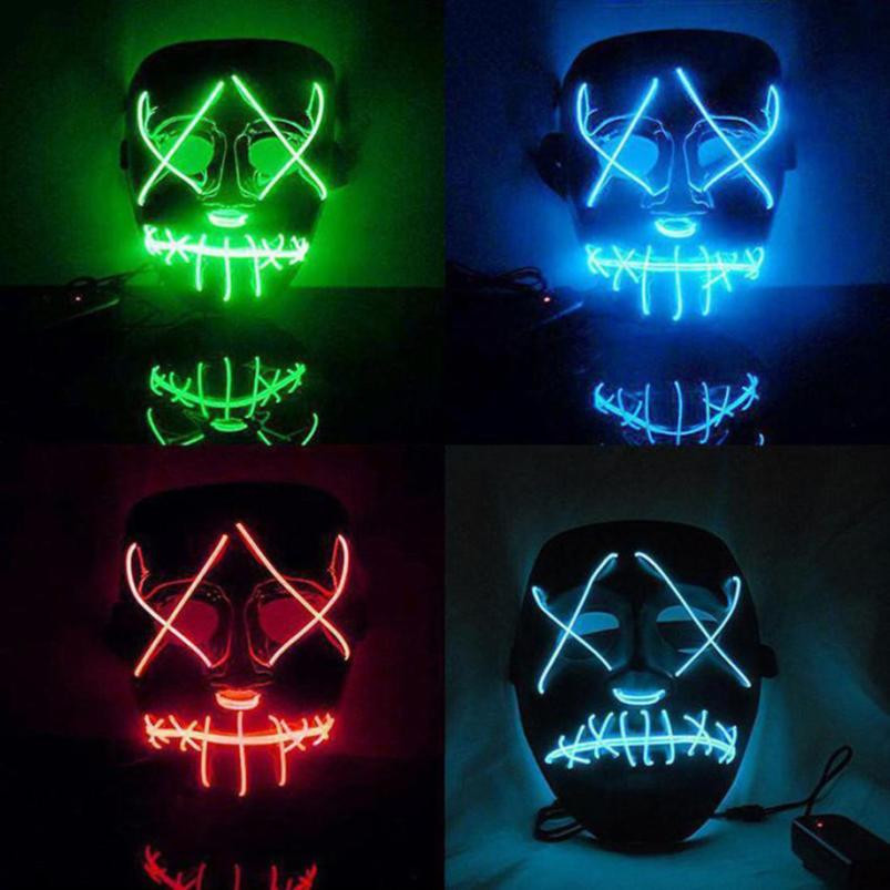 Plastic Halloween Mask LED Light Up Cosplay Costume Supplies Party Glow In Dark