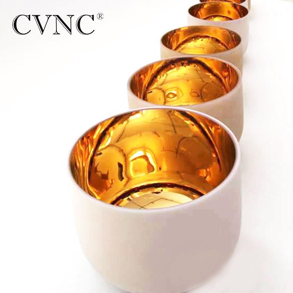 Chakra ensemble réglé de 7 pièces 6 -12 Note C D E F G A B plaque or givré Quartz cristal bol chantant