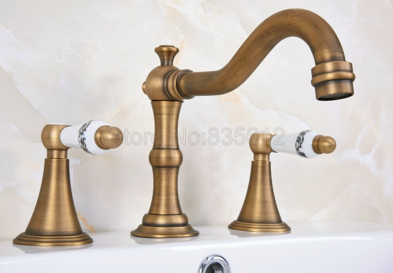 Bathroom Widespread Tap Antique Brass 3 Hole Deck Mounted Basin / Sink / Bathtub Faucet Dual Handle Taps Wan085Bathroom Widespread Tap Antique Brass 3 Hole Deck Mounted Basin / Sink / Bathtub Faucet Dual Handle Taps Wan085