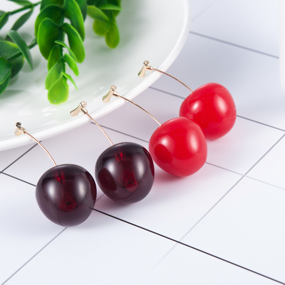 HTB1t2CHSmrqK1RjSZK9q6xyypXah - New Fashion 2019 Earrings Women Girls Resin Cute Round Dangle Red Cherry Fruit Earrings Jewelry Gift