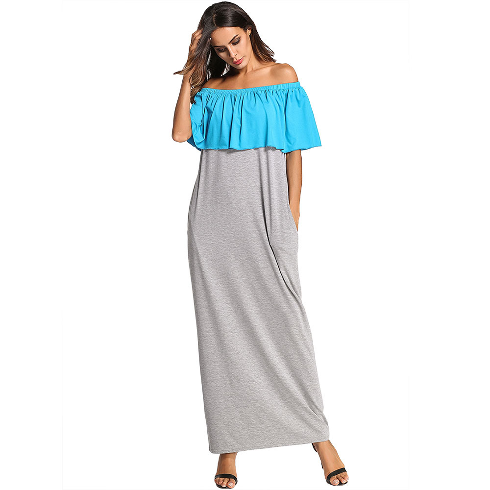 European American Plus Size Women's Wear Sexy Off Shoulder Knitted Casual Loose Muslim Maxi Long Dress Middle East Robe Gown