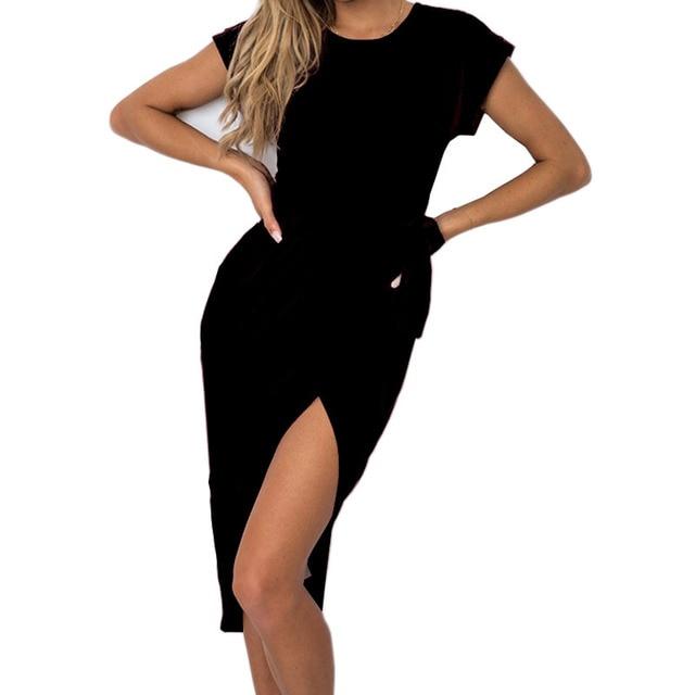 f449661eea89f New Sexy Split Irregular Dress 2018 Women Summer Dress Robe Solid O-neck Short  Sleeve Casual Dresses Sundress Femme Plus Size