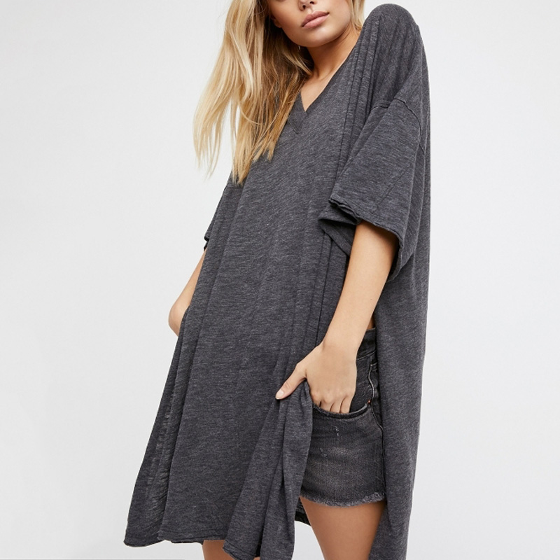 New Fashion Women Half Sleeve Loose Oversize Long T-shirt Over Size Tee Knit Top Casual Shirt Clothing XXL H175-41E