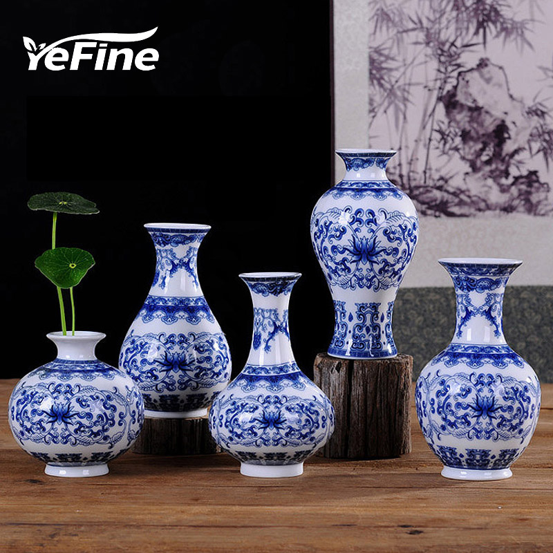 Yefine Vintage Home Decor Ceramic Flower Vases For Homes Antique Traditional Chinese Blue And White Porcelain