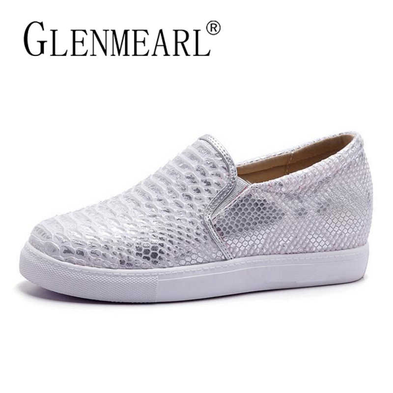 Women Flats Loafers Shoes Woman Brand Silver Thick Heels Platform Single  Casual Comfort Ladies Lazy Shoes 2a70d42ec60e