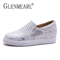 Women Flats Loafers Shoes Woman Brand Silver Thick Heels Platform Single Casual Comfort Ladies Lazy Shoes