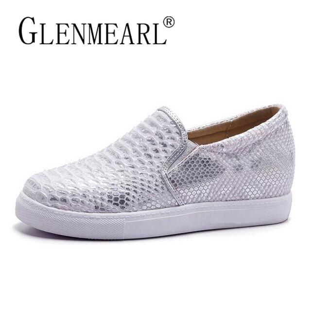 Mujeres Flats mocasines zapatos mujer marca plata tacones gruesos plataforma Casual confort señoras zapatos perezoso más tamaño 34 -43