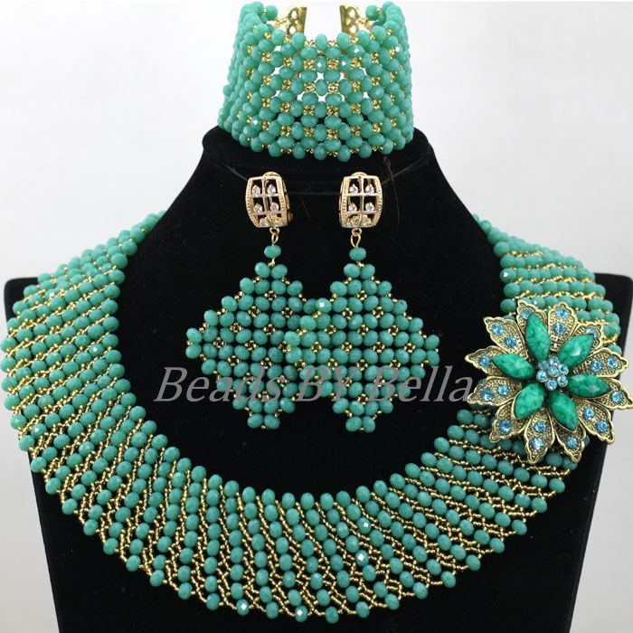 2017 Handmade Teal Green Beads African Costume Jewelry Sets Nigerian Wedding Bridal Lady Lace Jewelry Sets Free Shipping ABK755