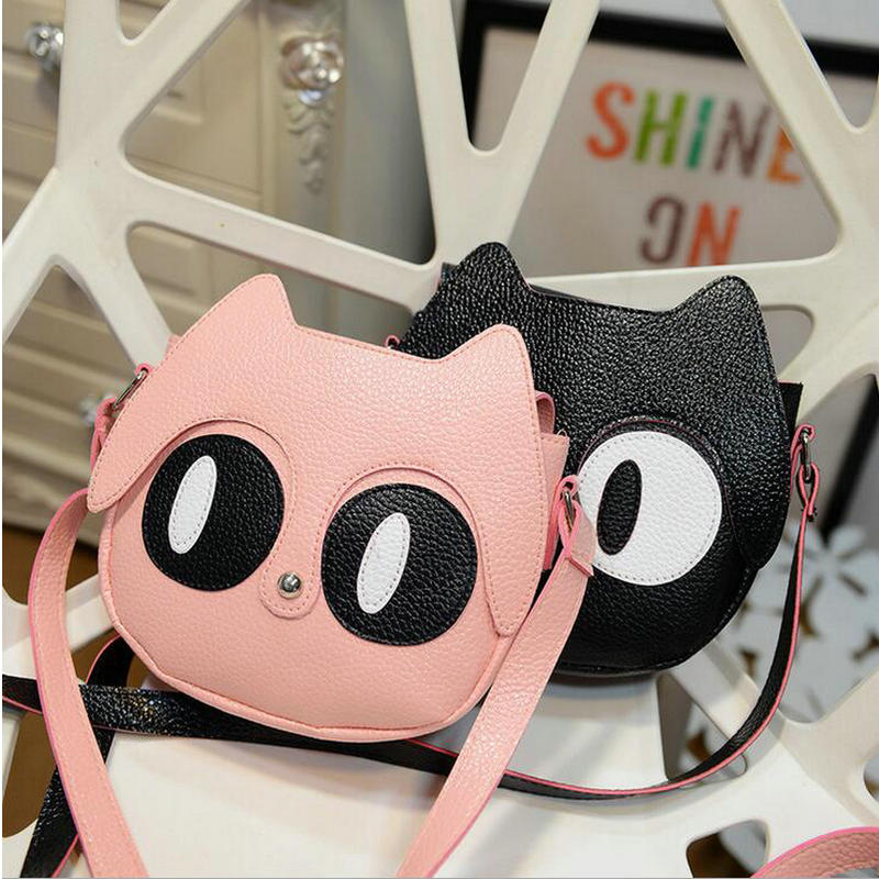 2018 New Fashion Cute Cartoon Cat Baby Girls Messenger Bag Children Princess Hand Bag Kids School Bag Shoulder Bag For Children new korea style fashion handbag cute kids children fashion brand princess party crossbody bag with gold chain for baby girls